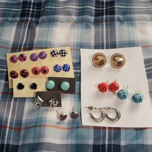 14 pairs earrings studs NWOT multicolored costume